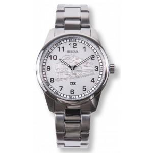 Men's Bulova Watch w/ Etched Train Dial